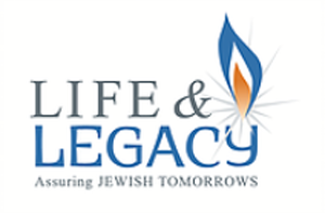 life and legacy logo in blue yellow grey with flame above Y