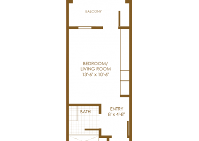 brown floor plan with balcony bedroom living room entry way and bath