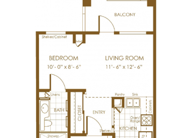 brown floor plan with balcony bedroom living room closet kitchen entry and bath