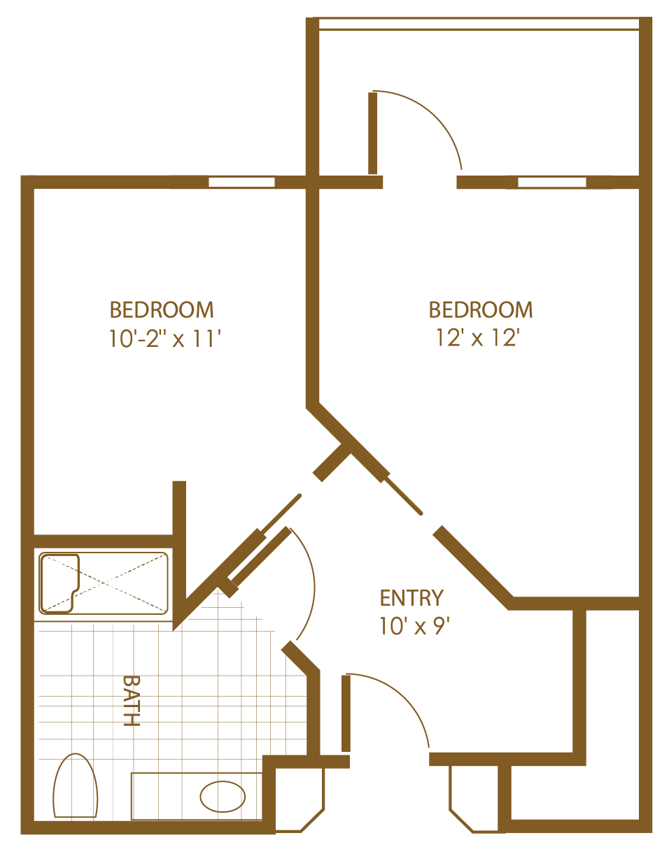 floor plan outlined in brown of two-bedroom one-bathroom entry way