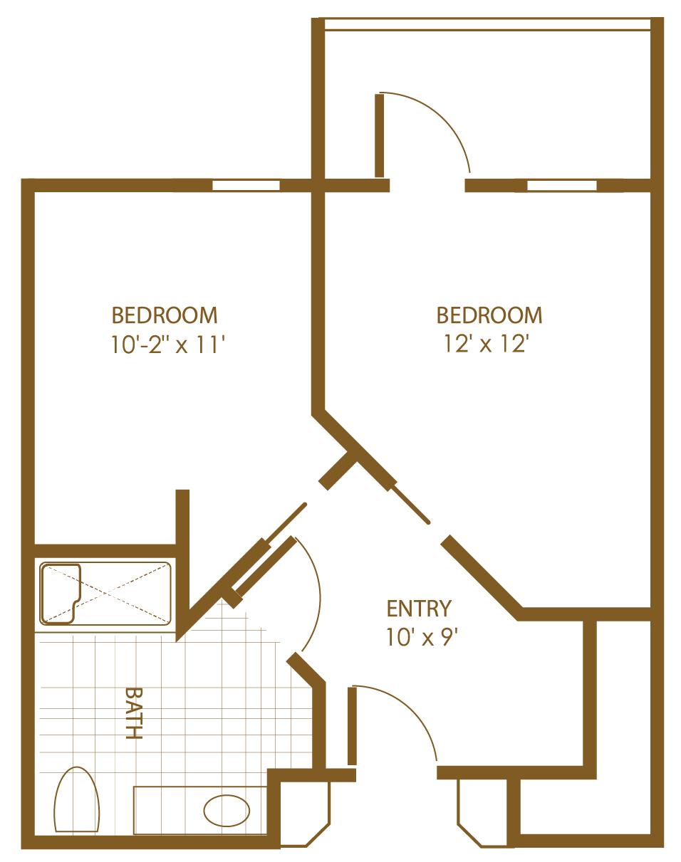 floor plan outlined in brown of two-bedroom one-bathroom entry way