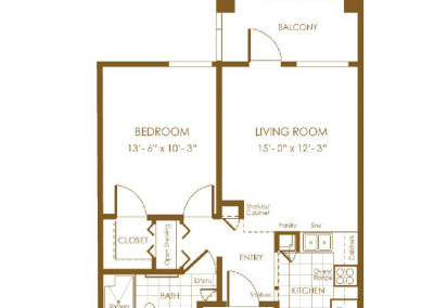 brown floor plan of balcony living room bedroom closet entry way small kitchen bath