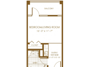 brown floor plan with balcony bedroom living room entry wet bar closet and bath