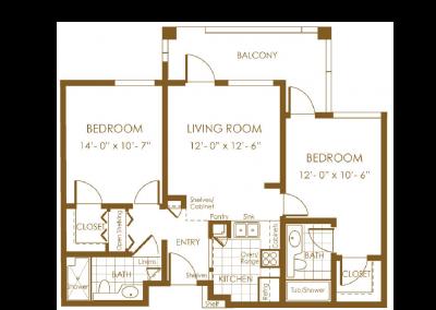 brown floor plan with balcony bedroom living room bedroom closet bath entry bath bedroom closet