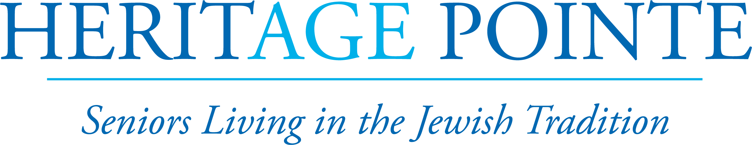heritage pointe logo in dark blue age in light blue