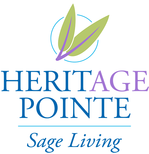 heritage pointe Sage Living logo in blue green purple