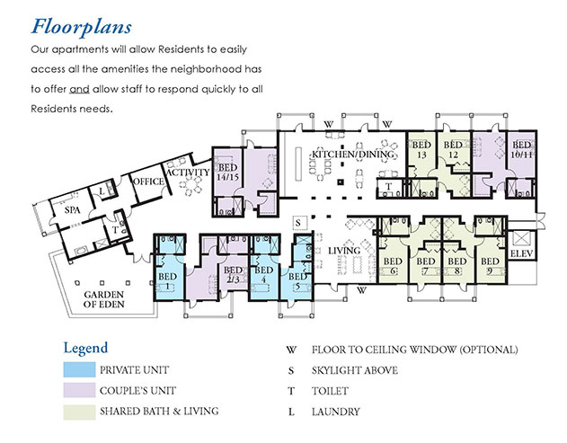 floor plans of apartments with legend identifying blue as private unit purple as couple unit and green as shared bath and living